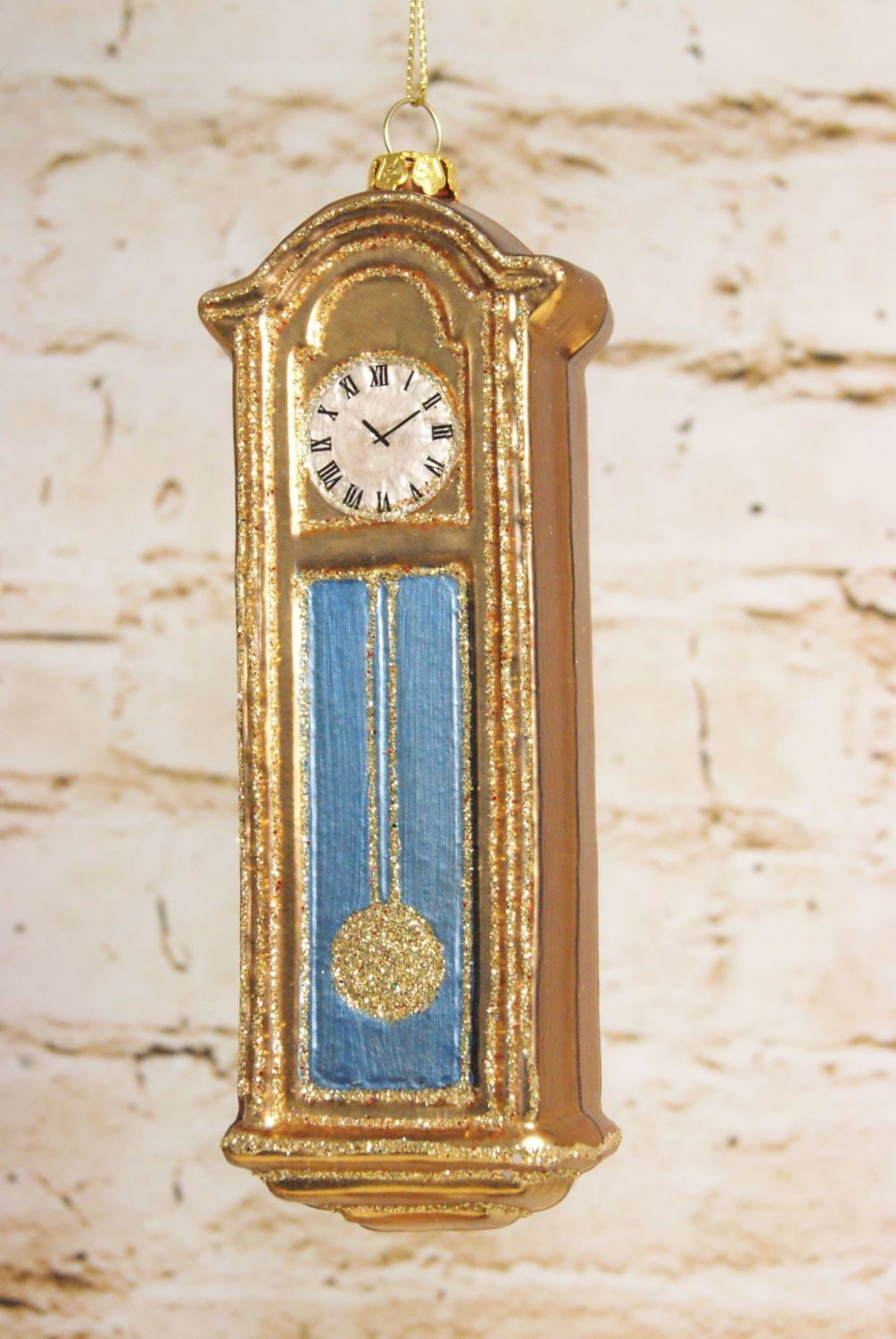 Gisela Graham Painted Glass Grandfather Clock Hanging Decoration