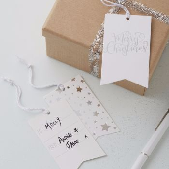 Ginger Ray Silver Foil Merry Christmas Tags - Set of 8