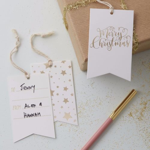 Ginger Ray Gold Foil Merry Christmas Gift Tags - Set of 8
