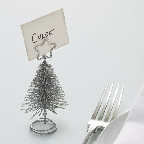 Ginger Ray Silver Tree Shaped Place Card Holders - Set of 4
