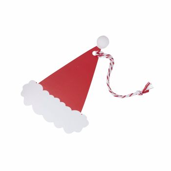 Ginger Ray Santa Hat with Pom Pom Tags - Set of 9