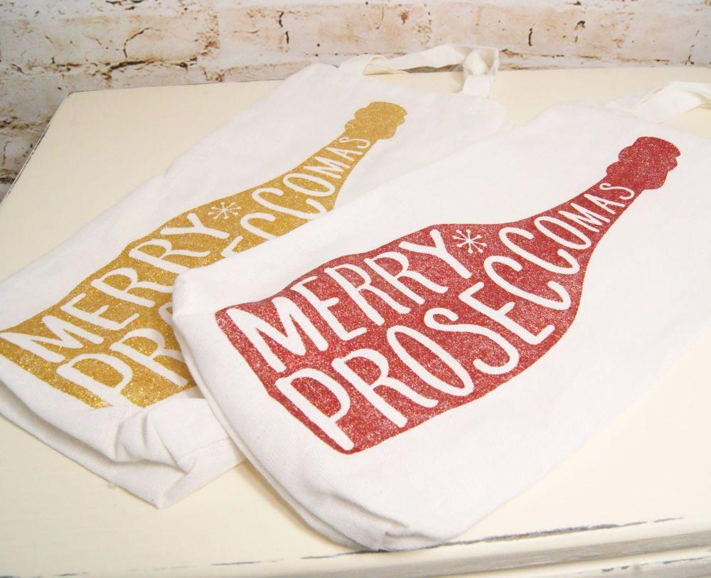 Glitter 'Merry Proseccomas' Bottle Cotton Gift Bag - 2 Assorted