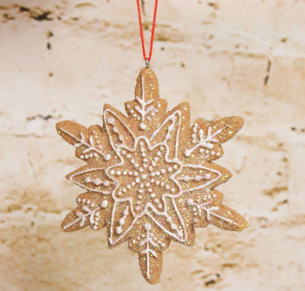 Gisela Graham Iced Snowflake Gingerbread Biscuit Hanging Ornamnet - 3 Assor