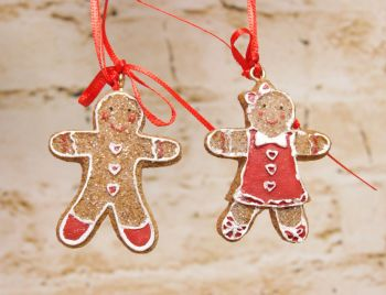 Gisela Graham Mini Gingerbread Man and Woman Hanging Decoration - 2 Assorted