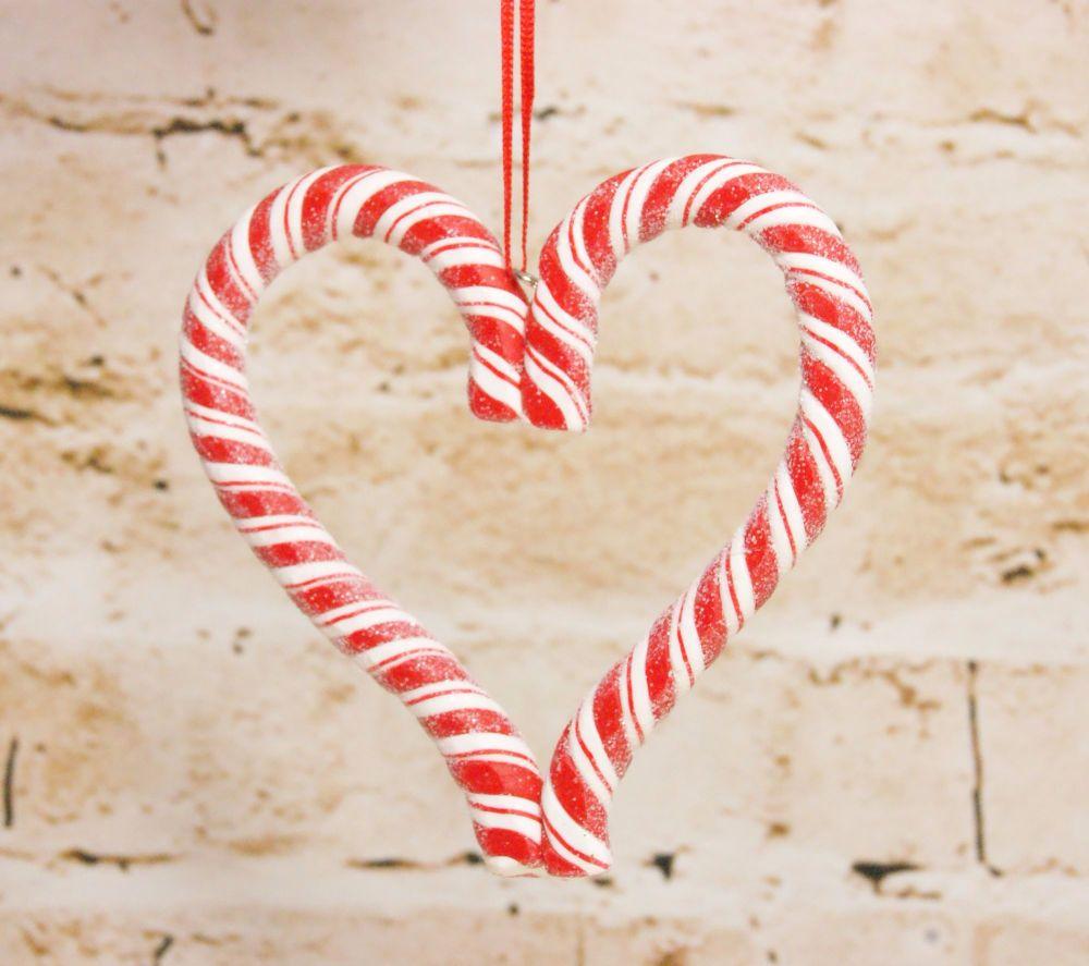 Gisela Graham Acrylic Candy Cane Heart Decoration