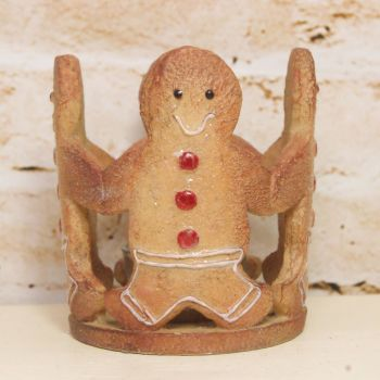 Gisela Graham Gingerbread Men Candle Holder