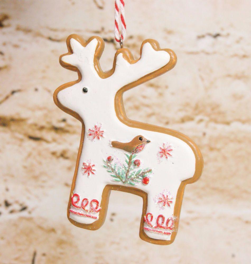 Gisela Graham Resin Iced Reindeer Biscuit Hanging Decoration - 3 Assorted