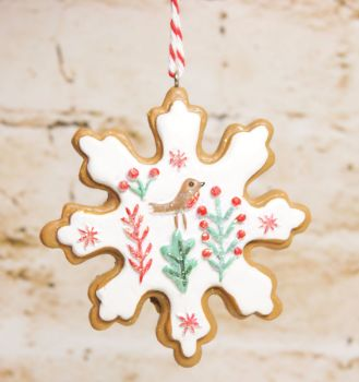 Gisela Graham Resin Iced Snowflake Biscuit Hanging Decoration- 3 Assorted Designs