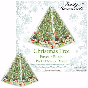 Sally Swannell Christmas Tree Favour Boxes - Pack of 6