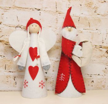 Gisela Graham Nordic Felt Santa Tree Topper - 2 Assorted