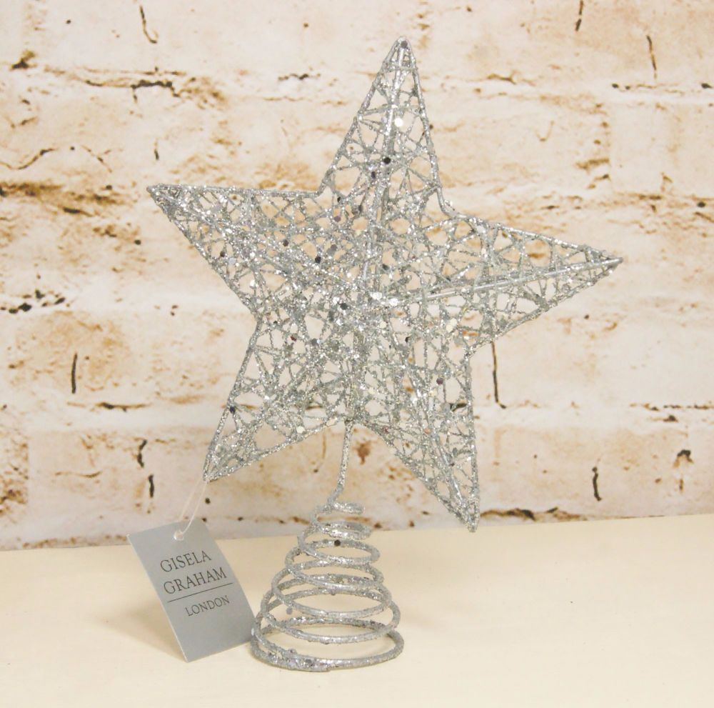 Gisela Graham Silver Wire Tree Topper Star