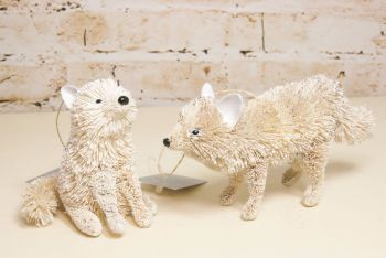 Gisela Graham Bristle Arctic Fox Decoration - Two Assorted