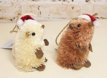 Gisela Graham Bristle Mice with Santa Hat - 2 Assorted