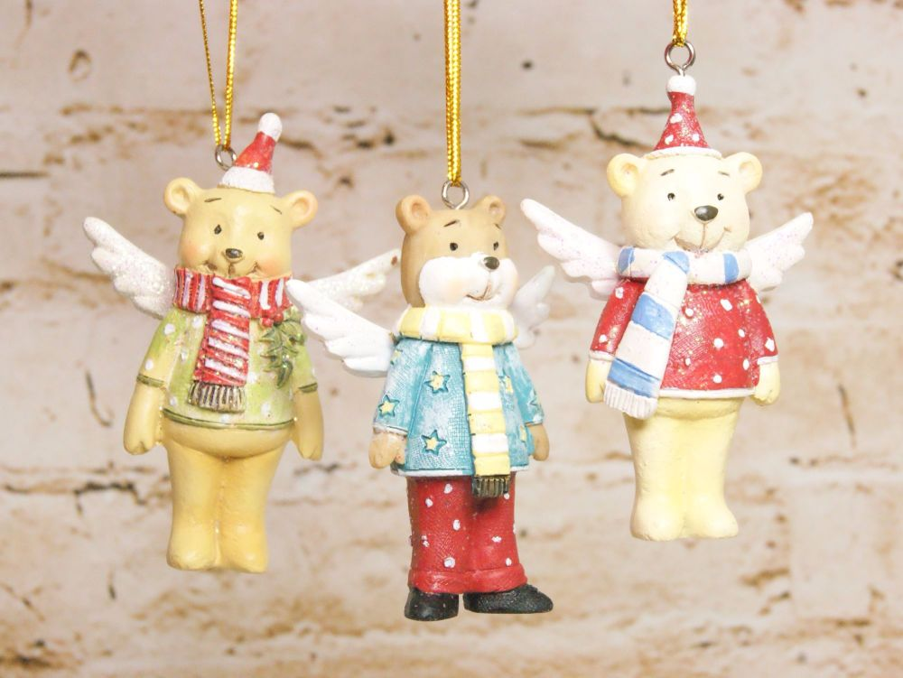 Gisela Graham Resin Teddy with Wings Decorations