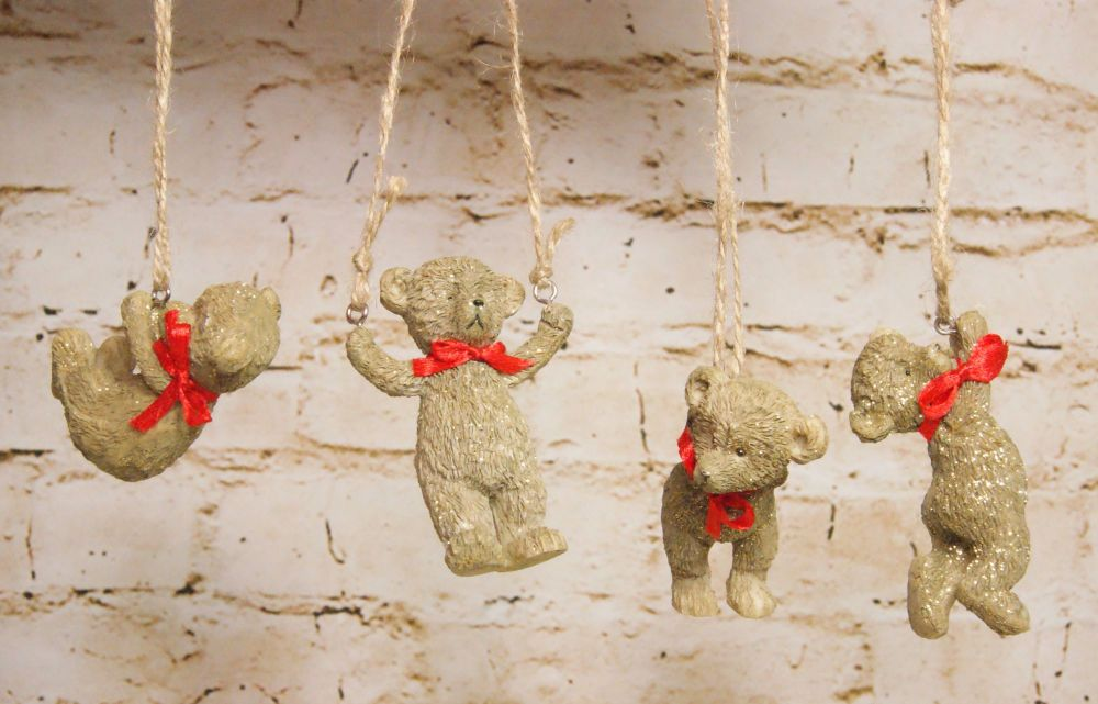 Gisela Graham Resin Hanging Teddies with Red Bow - 4 Assorted