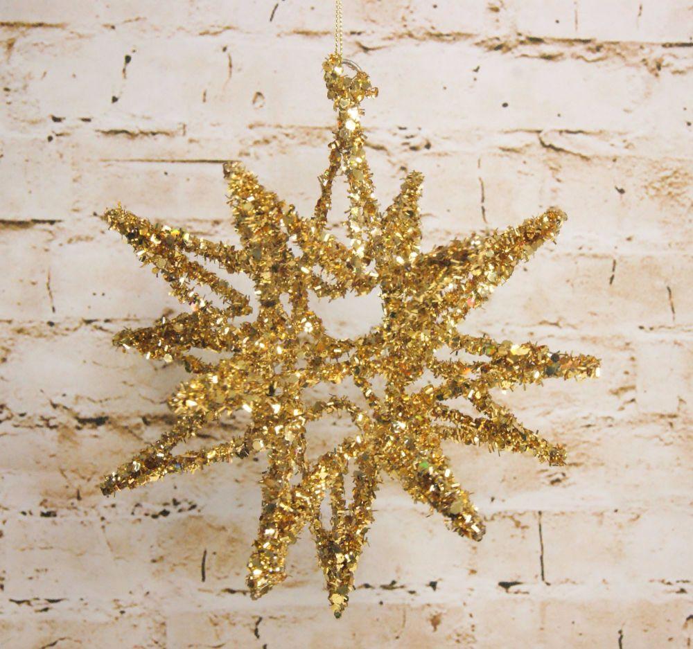 Gisela Graham Large Red or Gold Tinsel Hanging Star