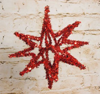 Gisela Graham Small Red or Gold Tinsel Star