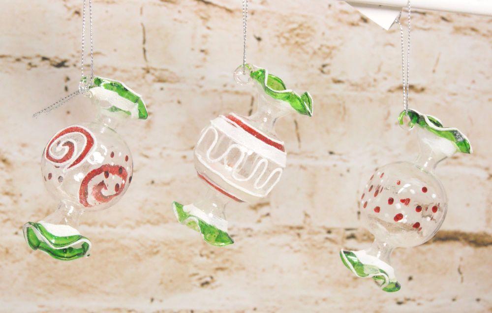 Gisela Graham Glass Sweetie Decoration - 3 Assorted