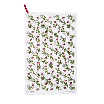 Sally Swannell Robin, Holly and Mistletoe Cotton Tea Towel