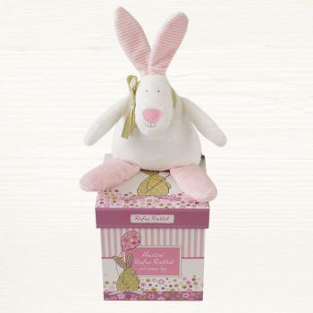 Rufus Rabbit Musical Pram Toy - Baby Pink