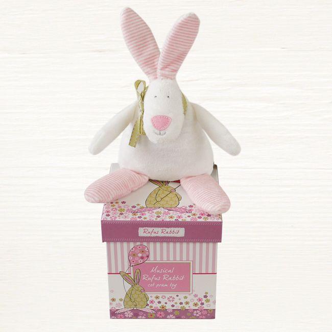 Rufus Rabbit Musical Pram Toy - Baby Pink