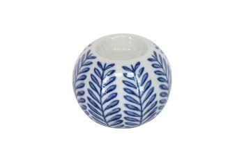 Blue and White Ceramic Leaf Print Tealight