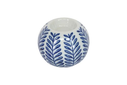Blue and White Ceramic Leaf Print Tealight