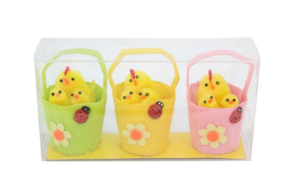 Set of Three Chenille Chicks in Baskets