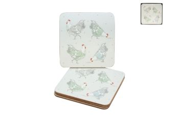 Boxed Set of Four Hen Coasters