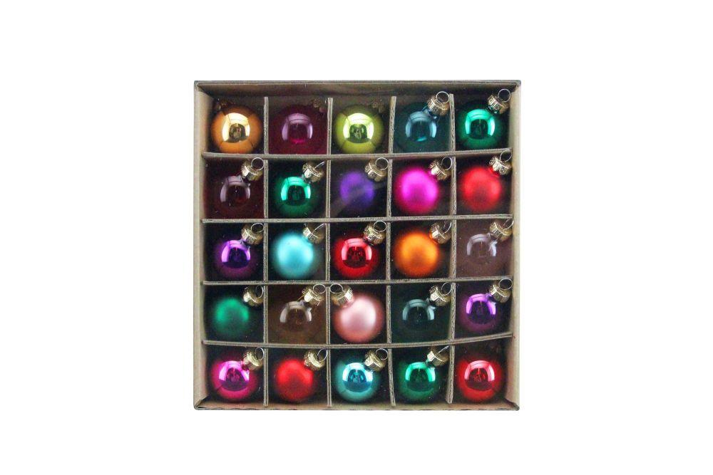 Multicolour Glass Box of 25 Decorations