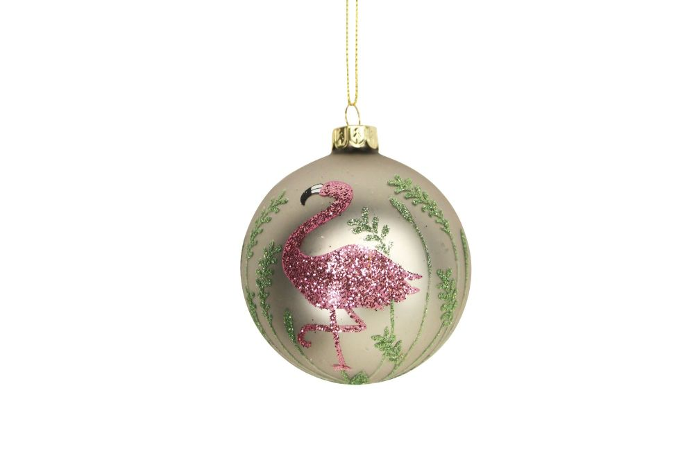 Matte Glass Flamingo Bauble