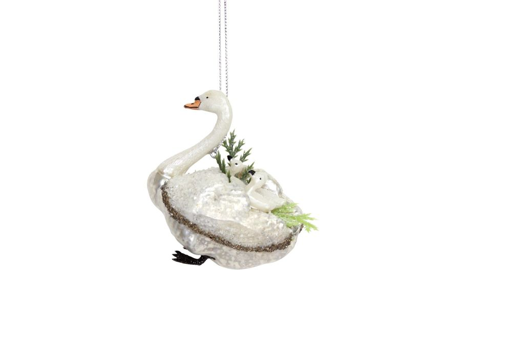 Painted Glass Swan with Cygnets Decoration