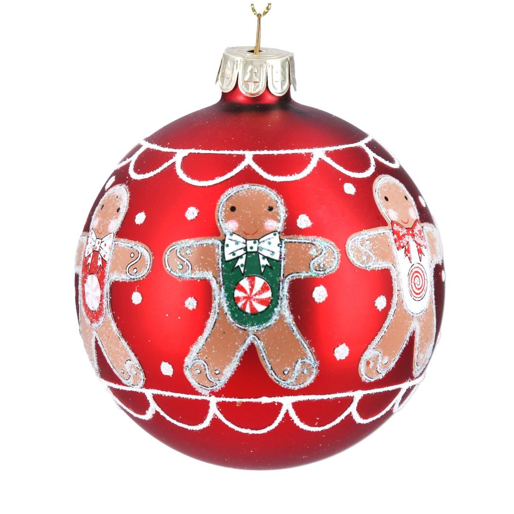 Gingerbread Man Glass Bauble