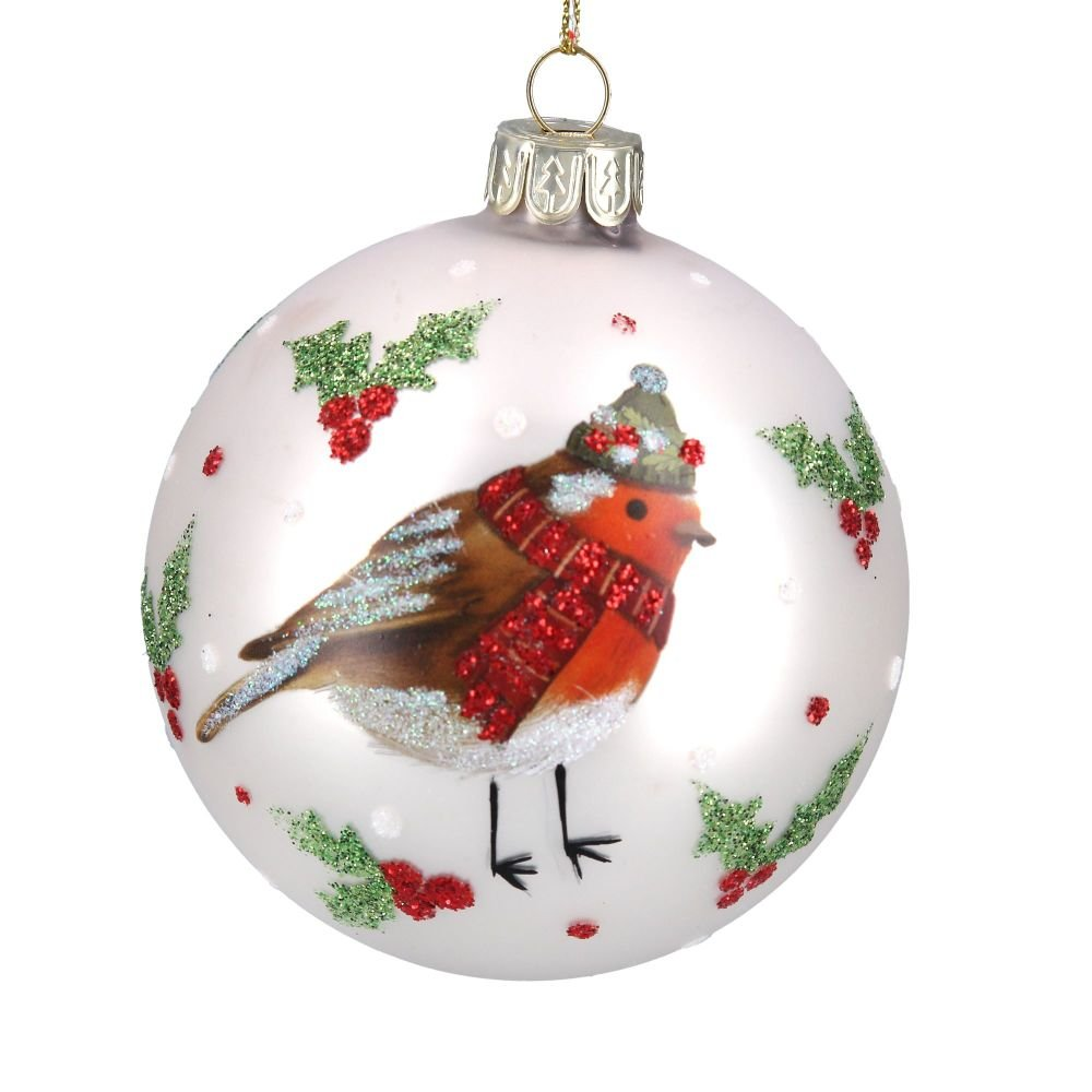 Matt White Robin Glass Bauble