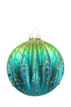 Gisela Graham Ribbed Glass Peacock Bauble