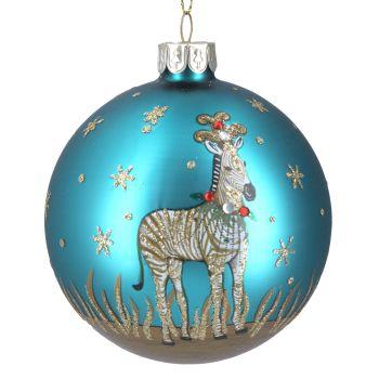 Gisela Graham Matte Blue Glass Ball with Zebra