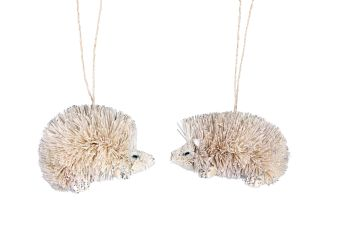 Gisela Graham White Bristle Hedgehog Decoration