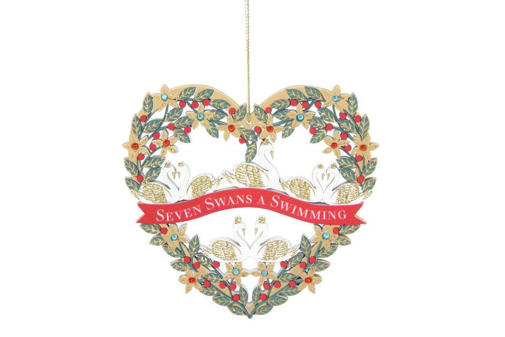 Fretwork Wood Seven Swans Heart Decoration