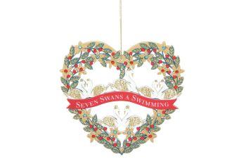 Gisela Graham Fretwork Wood Seven Swans Heart Decoration