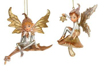 Gisela Graham Resin Pixie on Leaf Decoration