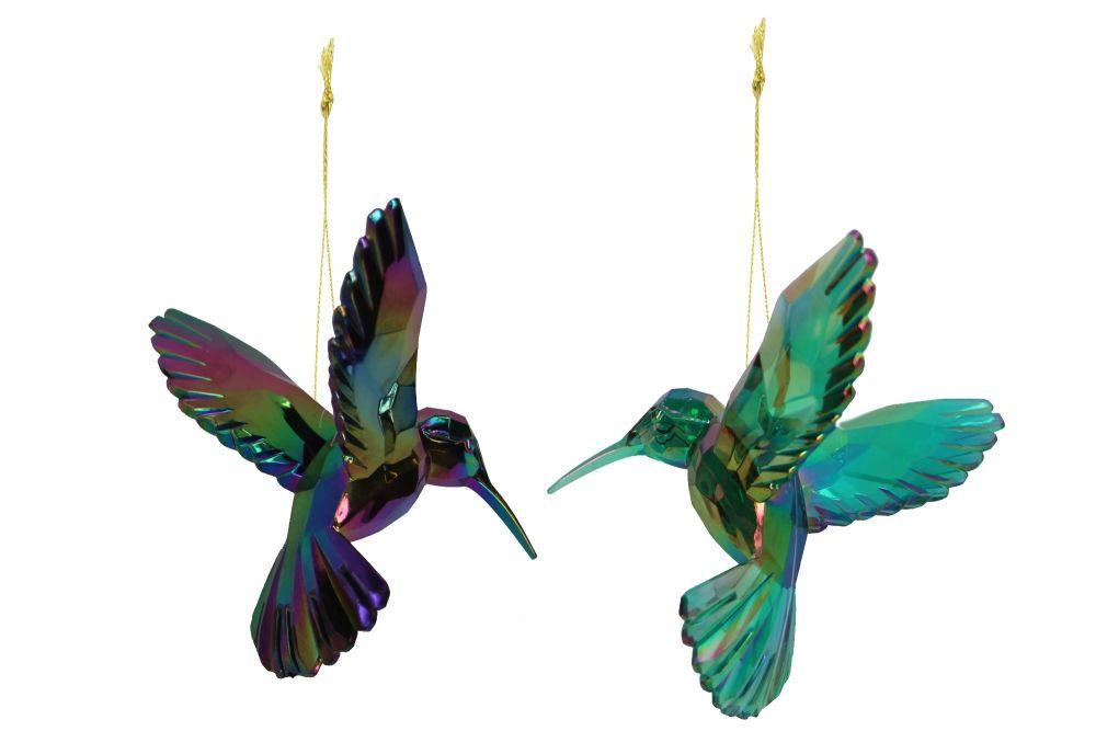 Gisela Graham Acrylic Hummingbird Decoration - Peacock Colour