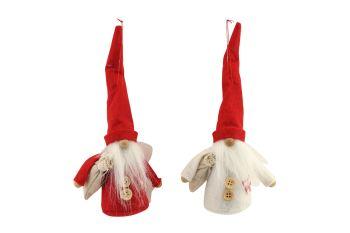 Gisela Graham Red and White Felt Nordic Santa Decoration