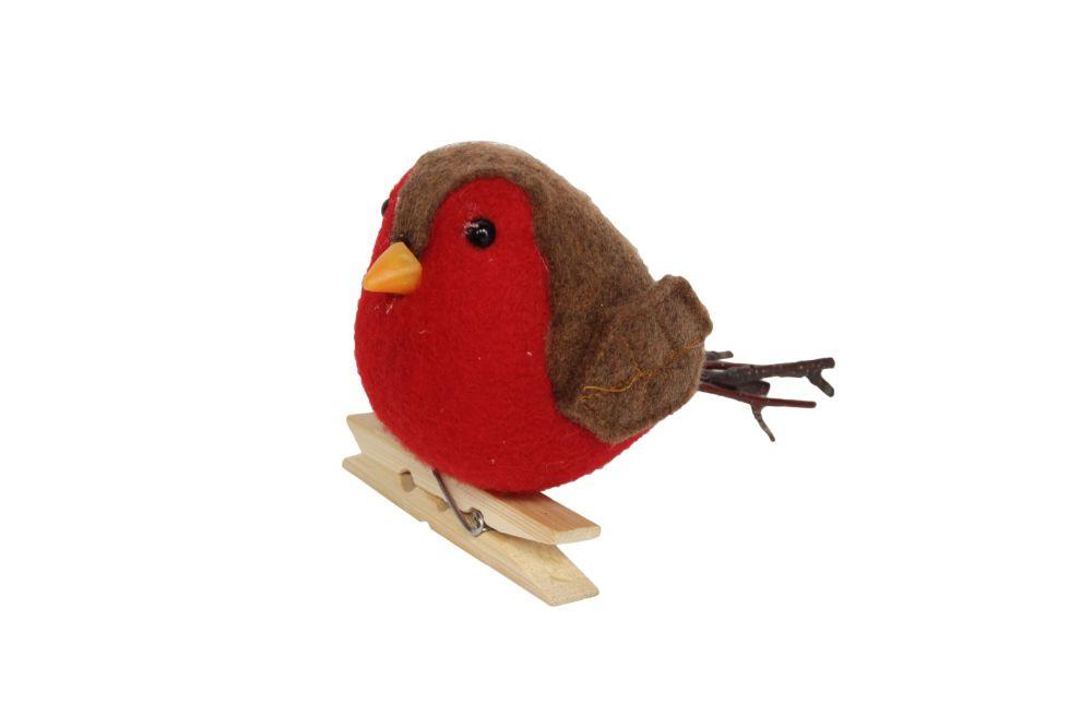 Felt Robin on Peg Decoration