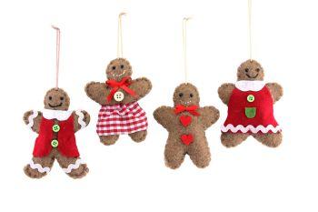 Gisela Graham Felt Gingerbread Decoration - 4 Assorted
