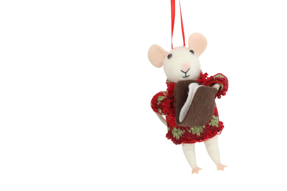 Woollen Mouse with Book Decoration