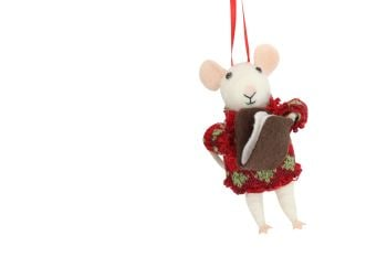 Gisela Graham Woollen Mouse with Book Decoration