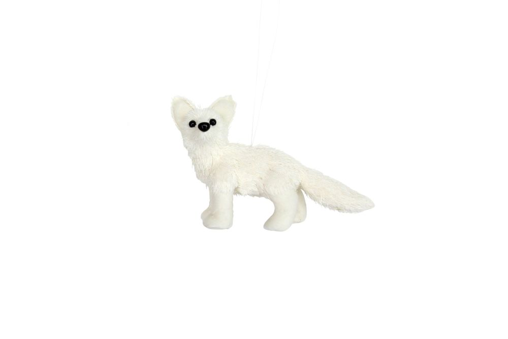 White Fabric and Bristle Baby Fox Decoration