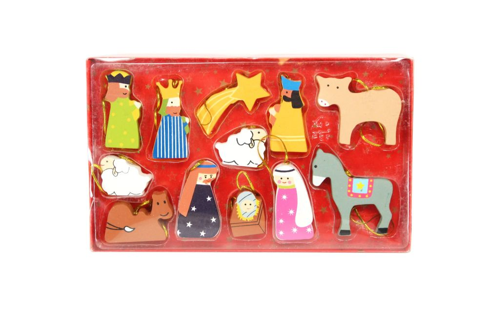 Wooden Nativity Decoration Set
