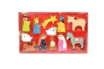 Gisela Graham Wooden Nativity Decoration Set