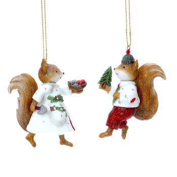 Gisela Graham Mr and Mrs Squirrel Decoration
